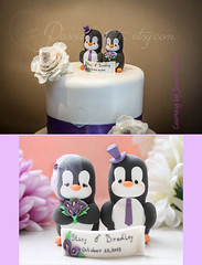 Penguin cake toppers on the wedding cake - calla lilies bouquet (PassionArte) Tags: cake groom bride penguins couple order purple calla handmade cost lilies figurines clay etsy custom purchase toppers personalized customizable