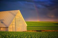 """The Magic of the Palouse"" (slight clutter) Tags: sunset weather barn rural landscape evening washington rainbow farmland agriculture palouse"
