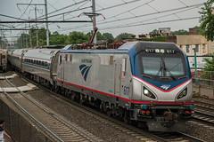 Sprinter through Elizabeth (Nick Gagliardi) Tags: train trains railroad electric northeast corridor amtrak acs64 nj transit njt new jersey arrow iii mu emu alp46 alp45dp