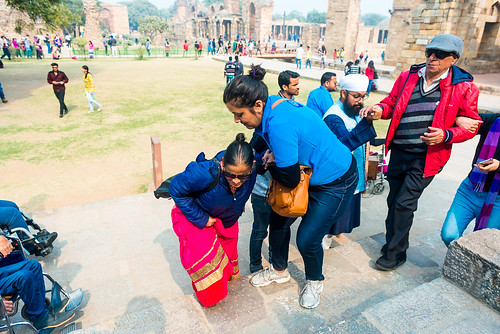Accessible Tour of Qutub Minar: Our travel buddies in action.