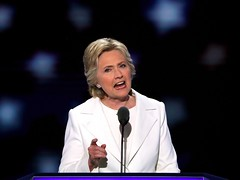 Clinton jabs Trump: 'A man you can bait with a tweet is not a man we can trust with nuclear weapons' (contfeed) Tags: clinton trump fear country fix provocations convention alone democratic said