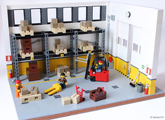 Warehouse life (Andrea Lattanzio) Tags: foitsop warehouse lego garage forklift pallet minifig shelf shelves norton74 depot boxes workshop