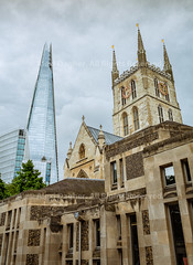 "The Old & The New - Southwark, London, England, 2016 (Photographie Alexi ""Alvin"" Dagher Photography) Tags: 2016 southwarkcathedral thecathedralandcollegiatechurchofstsaviourandstmaryoverie ancient anglican architecture bank belief britain british building capital chapel christianity church city clock clouds cloudy day destinations england english europe exterior facade faith famous gothic great greatbritain heritage historic history kingdom landmark london medieval monument motherchurchoftheanglicandioceseofsouthwark old oldandnew outdoor parish religion side sightseeing skyscraper stone summer sunny thamespath thelondonshard tourism tower travel uk unitedkingdom urban vintage window worship alexidagher"