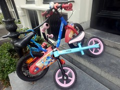Colorful Bikies (Quetzalcoatl002) Tags: bicycles kids outdoor bikes amsterdam kinderfiets street pair
