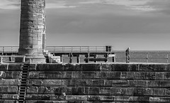 Whitby Harbour. (CWhatPhotos) Tags: old around about north yorkshire historic port harbour photographs photograph pics pictures pic picture image images foto fotos photography artistic cwhatphotos that have which with contain om10 olympus esystem four thirds digital camera lens olympusomd omd em10 olympusem10 43 fit mft micro people whitby yorks pier light house lighthouse sky clear skies day blue harbor flickr