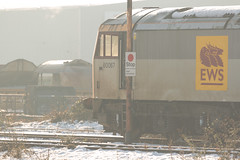 Demic DBS Class 60 no 60067 awaits it's fate or resurrection at Toton TMD on 30-12-2014 (kevaruka) Tags: nottingham uk greatbritain england sun color colour colors sunshine train canon flickr december colours dof unitedkingdom bokeh sunny trains brush db 5d locomotive tug scrap frontpage britishrail nottinghamshire goldenhour sunnyday dbs withdrawn notts a52 ews networkrail stored toton decembersun class60 ef100400l 60067 dbschenker canon5dmk3 totontmd 5dmk3 totondepot 5d3 totonmpd 5diii thephotographyblog winter2014 lightroom5 totoncentre canoneos5dmk3 dbreilfreight dbs60 ilobsterit