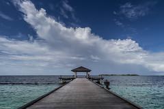 The dock (Giovaneskywalker) Tags: blue light sea sky sun beach water holidays paradise honeymoon honey maldives baa maldive atollo