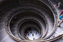 Downward spiral (Playing_with_light) Tags: people vatican museum spiral nikon bramante down tourist double staircase helix exit downward d800