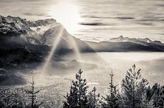 Sun (DaOpfer) Tags: trees sunset blackandwhite sun fog landscape sonnenuntergang nebel pentax gap landschaft sonne wank zugspitze k7 sigma30mmf14exdchsm