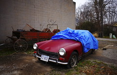 Wagon and Old Midget (jpmatth) Tags: old red color abandoned car digital canon wagon eos lenstagged illinois rust garage mg mk2 5d midget tarp morrisonville 2014 ef28mm28