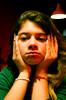 Tired (Jonas Hösler) Tags: light color girl lights restaurant eyes lowlight hands women low nails tired blonde bracelet tungsten colorcorrection paintednails artificiallight correction greentones tiredeyes