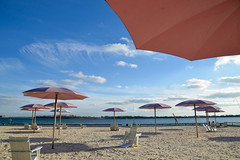 Sugar Beach! (SteveC123!) Tags: pink blue sky urban toronto beach umbrella skycloudssun