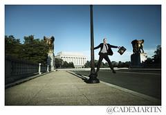 Monumental (cademartinphoto) Tags: man advertising washingtondc dancing business americanuniversity blueskies monuments briefcase epic storytelling kogod