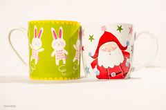 What Month Is It?! (BGDL) Tags: santa christmas easter mugs contrasts weeklytheme easterbunnies coffeetime week23 7daysofshooting nikond7000 bgdl lightroom5 afsmicronikkor40mm128g flickrlounge highkeyorlowkeyfriday