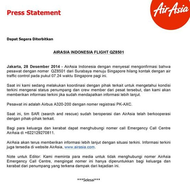 Air Asia Indonesia Statement about flight QZ 8501 😞