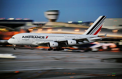 It Ain't Over Till The Fat Lady Sings. (Infinity & Beyond Photography) Tags: france plane airplane evening airport shot miami dusk aircraft air landing international mia airbus a380 pan arrival panning kmia