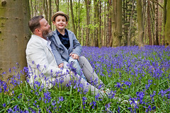 Me, Myself and Mini Me. (Andy Bracey -) Tags: wood family flowers boy portrait bluebells woodland nikon dad father son bond wildflowers fatherandson stevenage hertfordshire bracey priorswood d700 andybracey