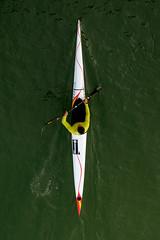 Vista cenital sobre el remero (fruizh) Tags: sevilla guadalquivir agua barco 2016 piragua isladelacartuja puentedelabarqueta fruizh