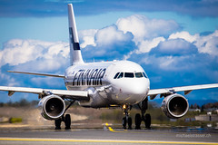 F I N N (Michael Strassel) Tags: travel weather oslo norway clouds airport taxi aviation finnair airbus takeoff badweather a319