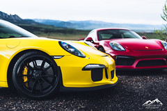 Porsche GT3 and GT4 (JDGS Photography) Tags: money mountains car speed 50mm nikon automobile colorado photoshoot f14 911 engine sigma legendary cash exotic porsche vehicle motor cayman f2 nikkor luxury cylinders f4 gt4 gt3 24105 105mm d610