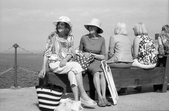 Sunshine (BadenBowen) Tags: street sea blackandwhite bw sun film monochrome 35mm canon mono blackwhite kent ps pointshoot folkestone harbourarm filmisnotdead