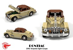Pontiac 1941 Torpedo Eight Coupe (lego911) Tags: auto car model gm lego general render 8 motors torpedo pontiac fabulous eight coupe forties challenge 103 1941 cad lugnuts povray moc ldd miniland foitsop lego911 thefabulousforties