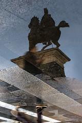 one evening in Milano (@ntomarto) Tags: street city urban italy milan reflection rain statue walking puddle strada italia milano urbano pioggia statua equestrian piedi citt vittorioemanuele riflesso piazzaduomo pozzanghera equestre antomarto ntomarto