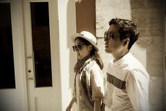 Korean people in Palma (Sacule) Tags: street portrait people sepia canon walking asian island calle spain model couple retrato korean sunglass mallorca palma baleares 600d sigma1770