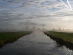nature and engineering (achatphoenix) Tags: early morning water eau aqua dust rural sky cielo ciel ostfriesland eastfrisia onthebridge