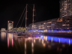 Puerto Madero, Buenos Aires (karinavera) Tags: travel nikond5300 reflections night urban canal port ndfilter argentina buenosaires marina water puertomadero river cityscape longexposure city