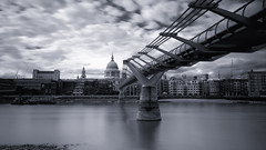 Millennium Bridge (simonhaywardphotography) Tags: blue river thames st pauls cathedral bridge millennium clouds long exposure stpauls london
