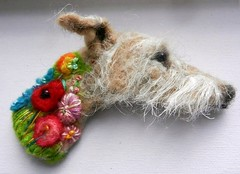 rough coated lurcher brooch (adore62) Tags: brooches dog lurcher feltedfido