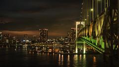 Oceanfront (elenaleong) Tags: rainbowbridge bridge nightlights nightscape citscape tokyo elenaleong minatoku yurikamomeline tokyoskyline tokyobay suspensionbridge shibaurapier