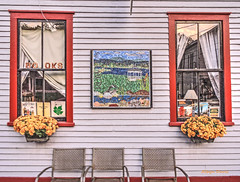 country bookstore (albyn.davis) Tags: building bookstore store shop windows reflections symmetry chairs massachusetts shelburne shelburnefalls flowers