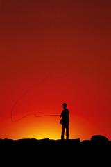 0554B014 (jgphoto1us) Tags: boy sunset summer people sports boys silhouette sport kids youth children person kid fishing alone child mr capecod massachusetts newengland sunsets flyfishing marthasvineyard boyhood