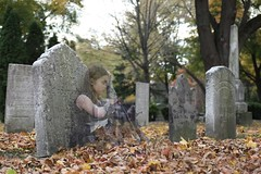 Little Girl Lost (summit-photo) Tags: autumn portrait fall halloween cemetery graveyard fuji spirit doubleexposure ghost haunted fujifilm ghosts x100s tclx100