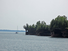 East shore and sailboat, Devils Island, Apostle Islands, Wisconsin (Paul McClure DC) Tags: wisconsin scenery geology lakesuperior apostleislands devilsisland ashlandcounty july2014