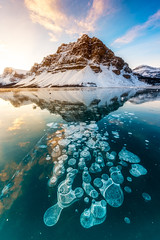 CrowfootBubblesLow (Mike Mezeul II Photography) Tags: winter mountain lake canada water sunrise rockies frozen nationalpark bubbles alberta banff methane crowmountain