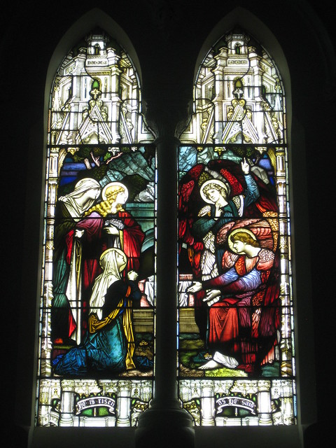 The John Pigdon Memorial Stained Glass Window of the Marys and two Angels of the Lord at Jesus Tomb; St Judes Church of England - Corner of Lygon, Palmerston and Keppel Streets, Carlton