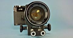 Yashica J-3 with 5cm f/ 2 Lens and Bellows (www.yashicasailorboy.com) Tags: camera macro slr classic japan closeup 35mm vintage studio lens japanese 50mm optical gear bellows yashica j3 yashinon tomioka 5cm
