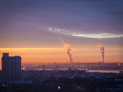 Sunrise (Dorret) Tags: city winter urban cold water skyline sunrise soft smoke baltimore steam highrise