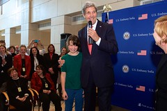 Secretary Kerry Shares Laugh With Child of Embassy Sofia Employee After She Asked What He Did (U.S. Department of State) Tags: sofia bulgaria johnkerry
