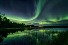 Auroras (Thomas Kast) Tags: lake reflection night finland landscape nightscape aurora northernlights auroraborealis thomaskast salamapaja