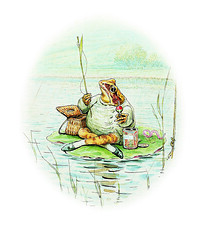 Mr.Jeremy_Fisher_ Frederick Warne & Co., 2002 (TaylorHerring) Tags: fish colour rain animal tin boat leaf pond lily basket toads frog toad frogs rod worm float 1906 bait jeremyfisher page23 mrjeremyfisher panel10 thetaleofmrjeremyfisher