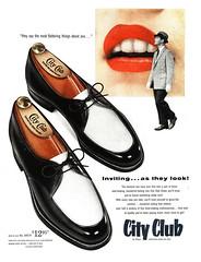 City Club Shoes, 1955 ad (Tom Simpson) Tags: woman 1955 fashion vintage advertising women shoes ad lips advertisement 1950s vintagead 1950sfashion cityclub