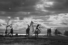 Windsurfer early morning. Niv,resund (Betty Olsen) Tags: sunset sea people nature boys grass clouds children denmark silhouettes ween sparkling windsurfer resund niv watewr