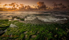 Sunset in Hawai'i (Traylor Photography) Tags: ocean vacation panorama sun beach nature water clouds landscape hawaii sand pacific oahu wide