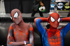 spidermen (Ian Muttoo) Tags: ontario canada spiderman gimp motionblur mississauga ufraw eglx enthusiastgamingliveexpo dsc57201edit enthusiastgamingliveexpo2016
