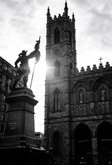 Place D'armes (Sharkshock) Tags: city trip travel light sunset urban sun white canada black building church monument statue photography nikon quebec montreal basilica notredame grateful nikkor vieux