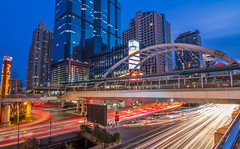Busy time (prasit suaysang) Tags: road longexposure light building cars night landscape thailand twilight colorful cityscape outdoor bangkok junction nightlight